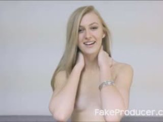 Tall Blonde Sucking Off FakeProducer And Swallowing Cum