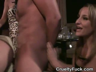 Brunette Fucked And Takes Cumshot On Tits At Reverse Gangbang