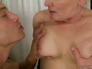 Fat grandma fucking with young man