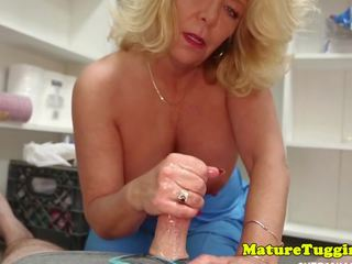 Mature Stepmom Milks Stepson Oiled Cock POV: Free Porn 6b