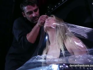Aj Applegate Bound with Plastic Wrap and Fucked Hard...