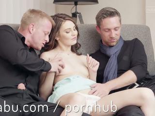 brünette, orgasmus, 3some