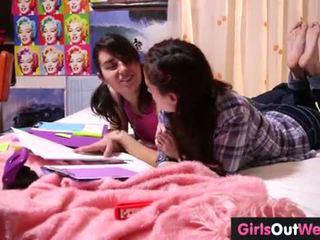 Cute hairy lesbian teenies finger each other
