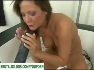 fucking machine, solo girl, big tits, huge toy