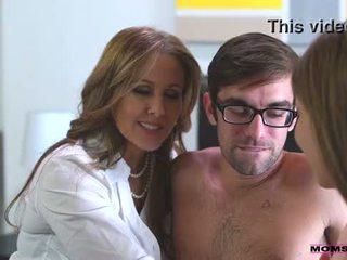 Step mom fucks son in hot threesome