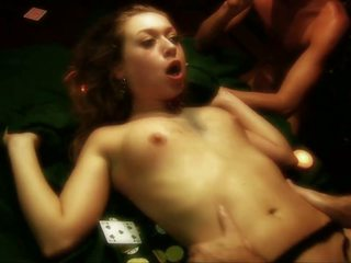 Dirty Whore gets Gangbanged on a Poker Table by Three