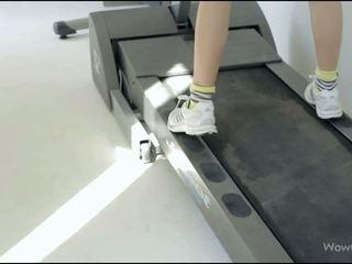 Teenie Mia Sollis doing morning exercise