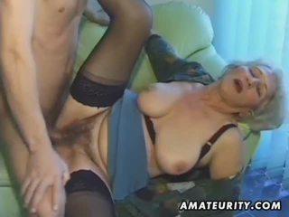 Old amateur mature wife sucks and fucks with cum