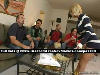Mature blonde slut at home with her friends