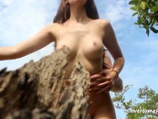 brunette, outdoors, cumshot