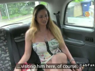 Busty Hungarian babe fuck in British fake taxi