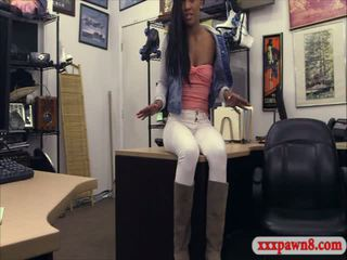 Sexy amateur ebony fucked by pawn man for a golf clubs