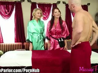 Massage Parlor Mom teaches step Daughter to Suck a cock - Porn Video 411