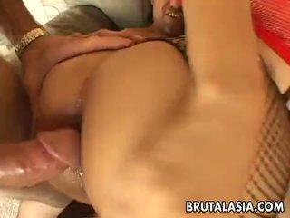 Mega hot busty Asian slut gets spitroasted in