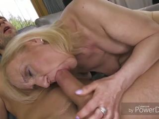 Elderly Blonde Cock Teaser and a Handsome Guy are About