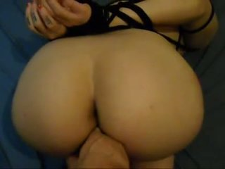 Tied up and handcuffed girl gets fucked from behind doggystyle POV