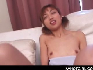 Teen jap sweetie hungry for sex self fucking with a tin