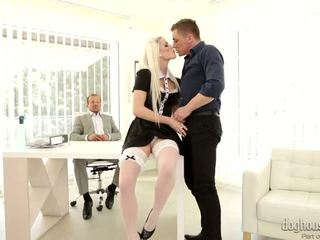 Elegant Blonde Fucked By Two Cocks