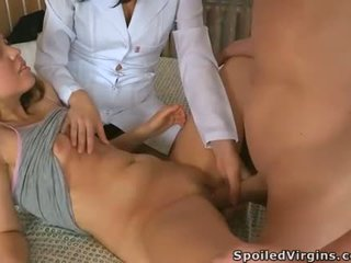 Demure virginal babe is pleasuring 2 hungry chaps