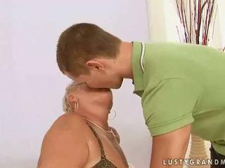 Fat grandma enjoys sex with a boy