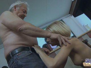 Big breasted blonde babe sucks old mans huge schlong