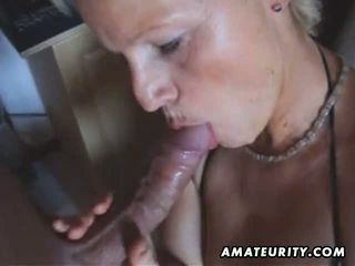 Busty amateur Milf toys and sucks with facial cum