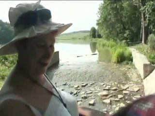 Horny granny sucking old penis in the forest