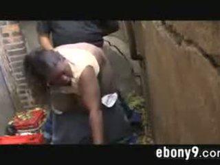 Fat Black Drug Addict Fucking Outdoors