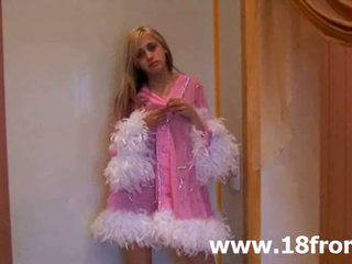 Pink petite teenager stripping