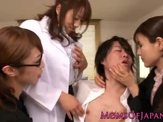 Japanese lingerie cougars sharing a young guy