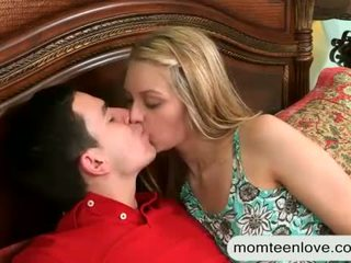 Mature milf Eva Notty 3some with teen couple on the bed