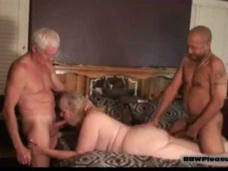 grand, seins, bbw, élevage