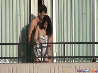 Cheating Housewife Fucked On The Balcony