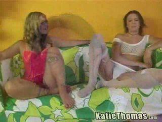 Pirang and brunette girls having interrasial three