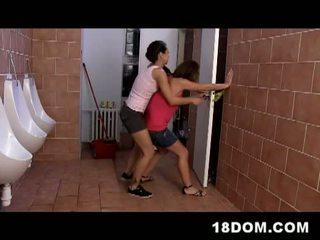 reit, dreier, toilette