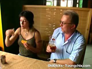 Girl Gives Old Man Handjob