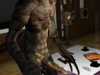 3D hentai stunner gives BJ to an alien