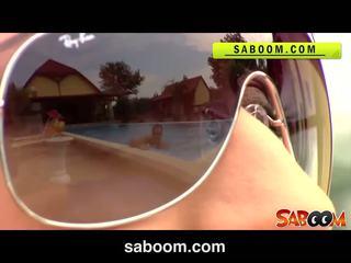 Roxy taggart gets inpulit pe the poolside la saboom