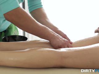 Loud orgasm on massage table