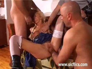 Blond babe gang bang fist fucked and jizzed on