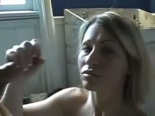 Hot mom gives a handjob and receives facial