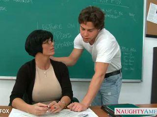 MILF in glasses Shay Fox fuck in class