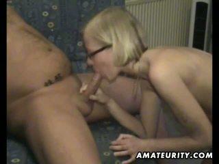 Sexy blonde ex girlfriend home fucking with cum
