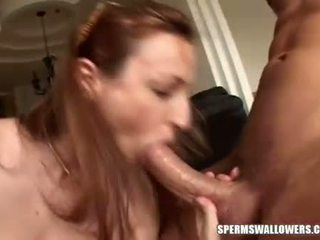 Cock creamer Rhiannon Bray enjoys the warmth of her mans jizz in her mouth