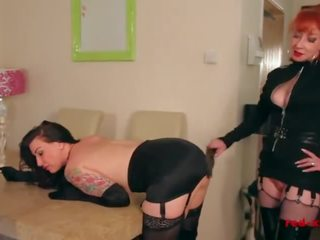 Red Spanks the Hell Out of Her New Slaves Ass