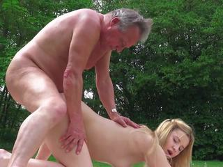 Sweet Young Blonde Fucked Old Guy in Park and Teen...