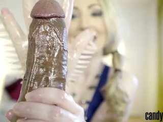 Cand May - Gives handjob to BBC with a latex glove