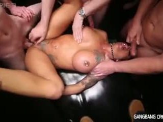 Gangbang creampie muscle milf gets anal fucked