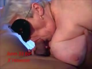 Masked Granny Sucking Licking Playing in Fishnet...