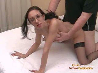 Slutty Schoolgirl in Stockings Enjoys Being in the...